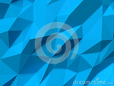Abstract Lowpoly Background blue. Geometric polygonal background 3D illustration. Cartoon Illustration
