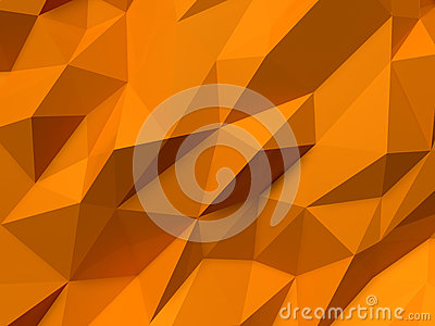 Abstract Lowpoly Background orange. Geometric polygonal background 3D illustration. Cartoon Illustration
