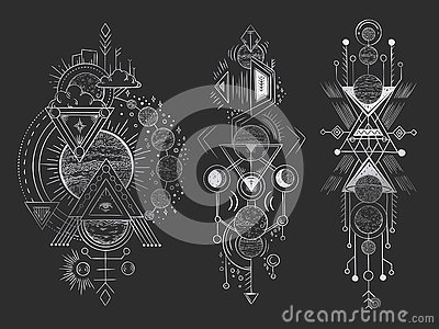 Abstract magical tattoo. Sacred geometric moon, mystic revelation arrows lines and mysticism harmony hand drawn vector Vector Illustration