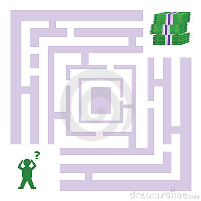 Free Abstract Maze With Man Looking For Money Stock Images - 11086564