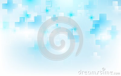 Abstract medical cross shape medicine and science concept on soft blue background. Vector Illustration