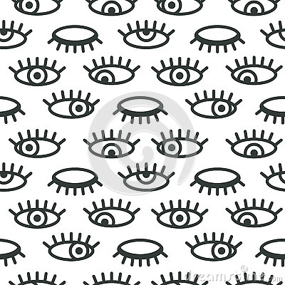 Free Abstract Minimalistic Eye Vector Seamless Pattern Royalty Free Stock Photography - 77734577