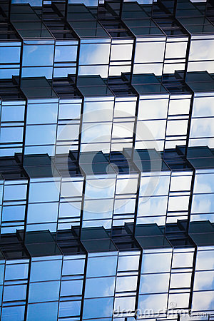 Free Abstract Mirrored Reflective Geometric 3d Background. Scales Building. Blue Reticulated Facade Royalty Free Stock Photo - 58965925