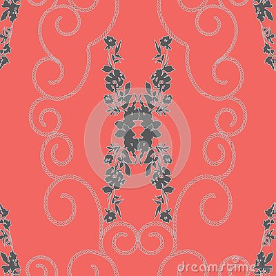 ABSTRACT MIRRORED ROSES AND CHAIN SPIRALS PATTERN Vector Illustration