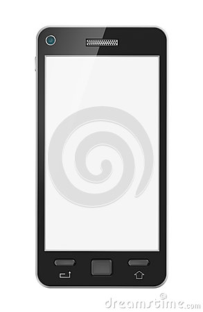 Abstract mobile phone with blank screen. Isolated. My design.