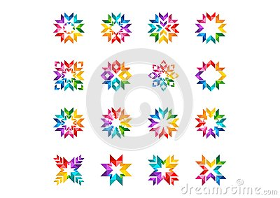 Abstract modern circle logo, rainbow, arrows, elements, floral, Set of round stars and sun symbol icon vector design Vector Illustration