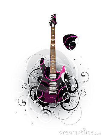 Abstract with modern electric guitar and mediator