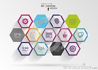 Abstract modern hexagonal infographic. 3d digital illustration Vector Illustration