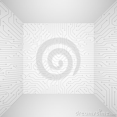 Free Abstract Modern White Technology 3d Vector Background With Circuit Board Pattern. Information Tech Company Concept Stock Image - 114032641