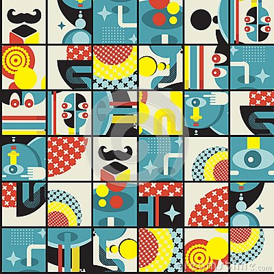 Abstract monsters pattern.