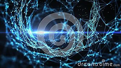 Abstract Motion Background - Digital Plexus Funnel Swirl Loop stock video