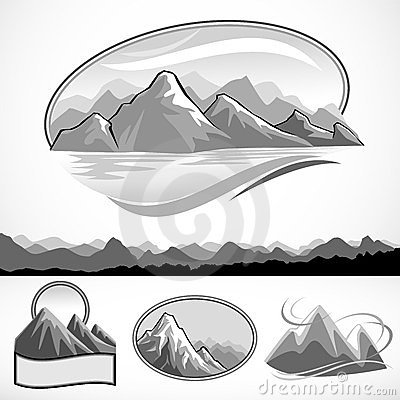Abstract mountain and hills B/W symbol set