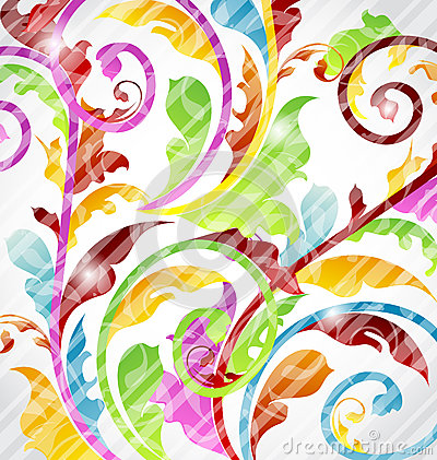 Abstract multicolor ornamental wallpaper