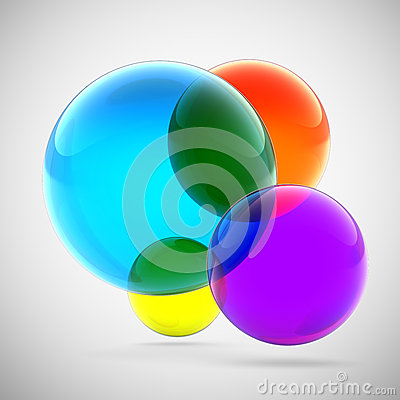 Abstract multicolored transparent spheres