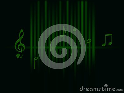 Background music green sound waves and notes isolated on dark background Stock Photo