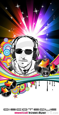 Abstract Music Disco Flyer Background