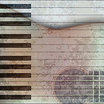 Abstract music grunge background guitar and piano