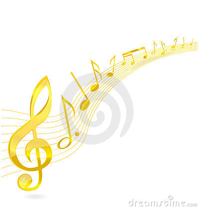 Free Abstract Music Key Sign Gold Color Royalty Free Stock Images - 21120669
