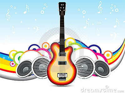 Abstract musical background with guitar