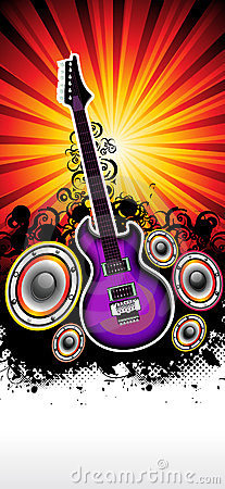 Abstract musical guitar rock band concert template