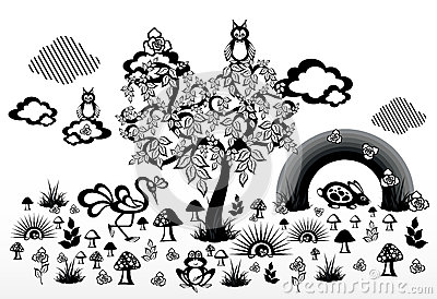 The abstract nature. Wood and mushrooms. Plants and animals. Rainbow and clouds. Vector Illustration