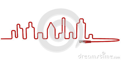 Abstract network cable line with city