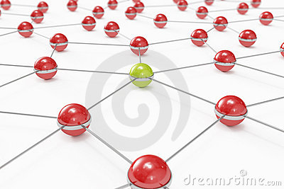 Abstract network with green ball standing out