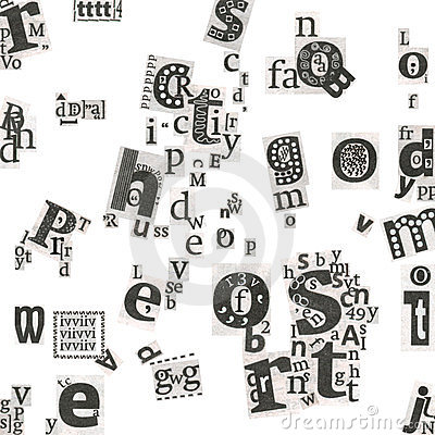 Abstract newspaper s art letters