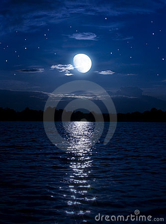 Abstract night background  moon  stars over  water