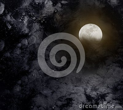 Free Abstract Night Sky With Full Moon For Halloween Background. Royalty Free Stock Photo - 100092255
