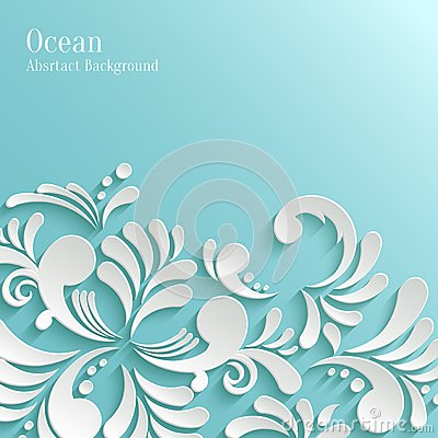 Abstract Ocean Background with 3d Floral Pattern Vector Illustration