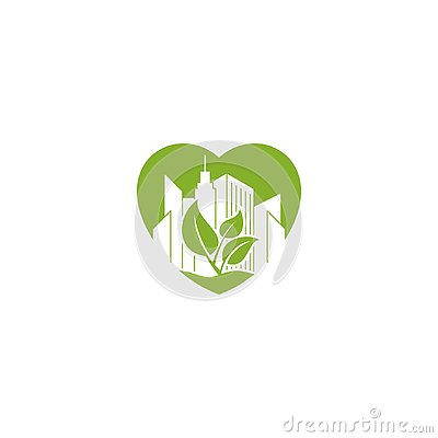 Abstract office building on green leaf in the love shape icon logo. Stock Photo