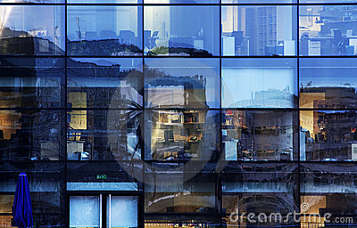 Abstract office window reflections