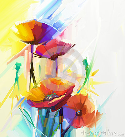 Free Abstract Oil Painting Of Spring Flower. Still Life Of Yellow, Pink And Red Poppy. Stock Photography - 60477882