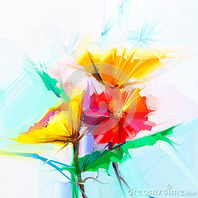 Free Abstract Oil Painting Of Spring Flowers. Still Life Of Yellow And Red Gerbera Flower Stock Photography - 65959262