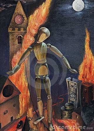 Abstract oil picture of social collapse