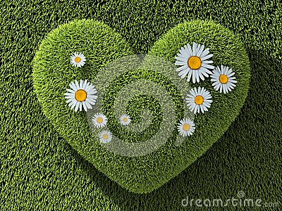 Abstract one heart in grass Cartoon Illustration