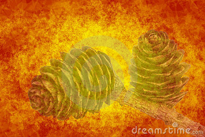 Abstract orange background with cones