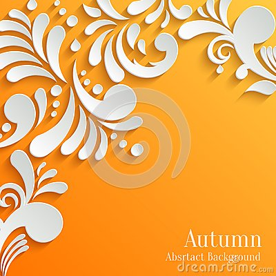 Free Abstract Orange Background With 3d Floral Pattern Stock Images - 46178854