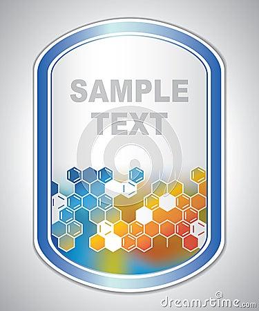Abstract orange-blue laboratory label Vector Illustration