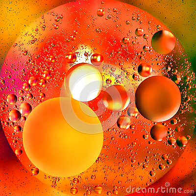 Abstract Orange Oil Bubbles and Water Background
