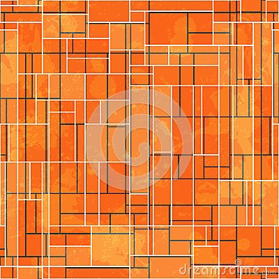 Abstract orange rectangle seamless pattern with grunge effect