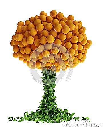 Abstract orange tree