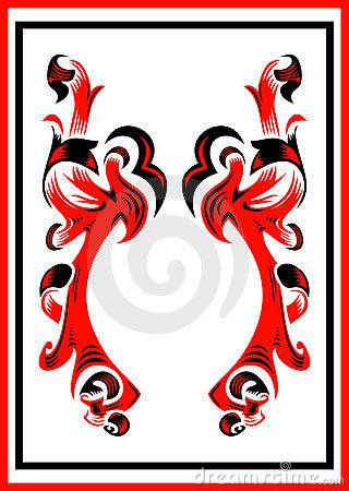 Abstract ornament in black and red colors