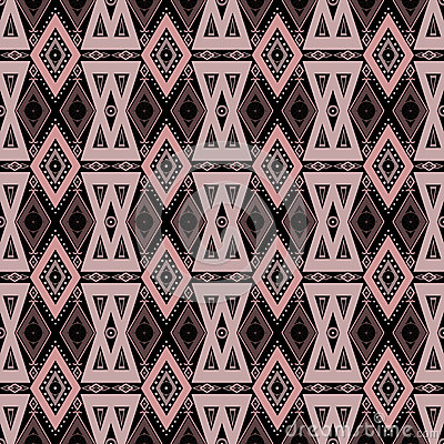 Abstract ornament seamless geometrical pattern on black