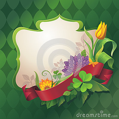 Free Abstract Ornate Floral Banner With Red Ribbon Tag On Green Background Stock Images - 28889324