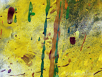Abstract Paint Drips Yellow