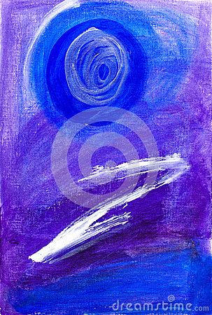 Abstract painting in blue and purple