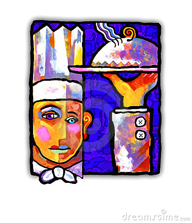 Abstract painting of a chef
