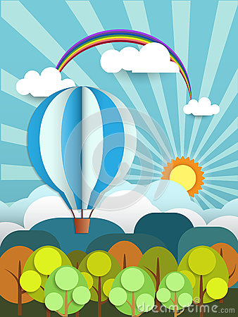 Free Abstract Paper With Sunshine- Rainbow-hill-cloud And Balloon Stock Photo - 46417320